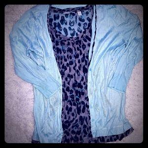 Light blue cardigan w/flowy blouse